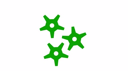 tornar : Rotating green gearwheels. White background. Alpha channel