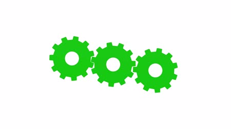 continuidade : Three green gears rotate. White background. Alpha channel Vídeos