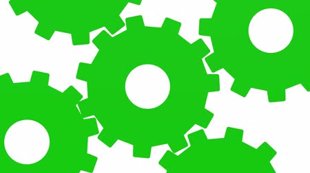 eternidade : Five green gears rotate . White background. Alpha channel. Close up Vídeos