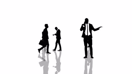 walkthrough : Animation with business people silhouettes moving towards the camera. Seamlessly loopable animation.