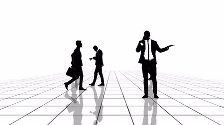 walkthrough : Animation of a black and white grid with business people silhouettes moving towards the camera. Seamlessly loopable animation.