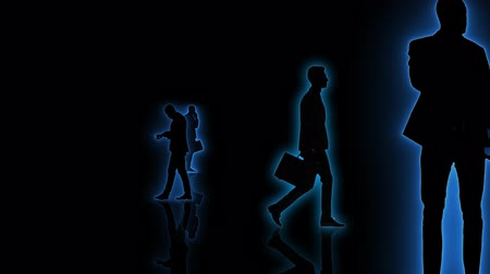 walkthrough : Computer generated animation with neon business people silhouettes moving towards the camera. Seamlessly loopable animation. Stock Footage