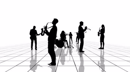 clarinet : Computer generated animation of a black and white grid with musician people silhouettes moving towards the camera. Seamlessly loopable animation.