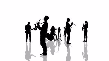 woodwind : Computer generated animation with musician people silhouettes moving towards the camera. Seamlessly loopable animation.