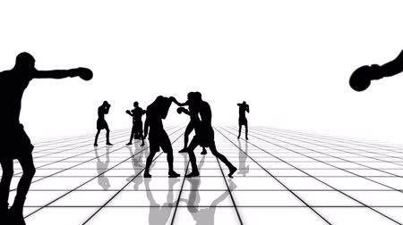 şartlar : Boxing and kickboxing people silhouettes moving towards the camera of a black and white grid. Seamlessly loopable animation.
