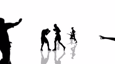 каратэ : Sport people silhouettes moving towards the camera. Seamlessly loopable animation.