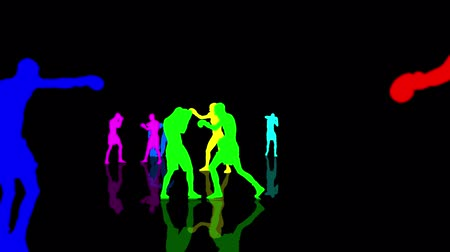 каратэ : Boxing and kickboxing people colorful silhouettes moving towards the camera. Seamlessly loopable animation.