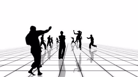каратэ : Martial arts people silhouettes moving towards the camera of a black and white grid. Seamlessly loopable animation. Стоковые видеозаписи