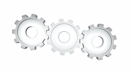 pinion : White gears rotate against a white background. Alpha channel