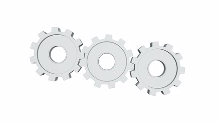 pinion : Three white gears rotate a white background. Alpha channel