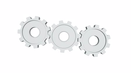 continuidade : Three white gears spinning . White background. Alpha channel
