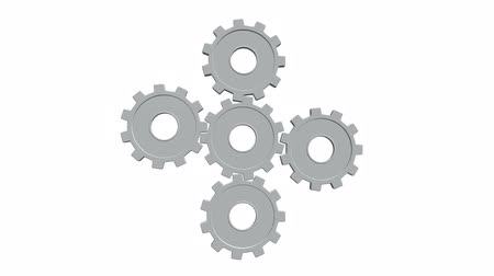 tornar : Five white gears spinning flies . White background. Alpha channel Stock Footage