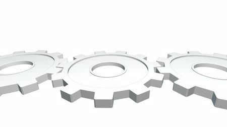 pinion : 3d animation three gears of white color rotates . White background. Alpha channel. Close up