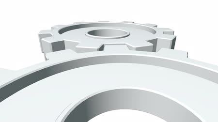 continuidade : 3d gears of white color rotate . White background. Alpha channel. Close up