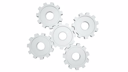 tornar : Five white gears spinning . White background. Alpha channel
