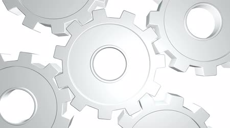 tornar : White gears in a rotate . White background. Alpha channel. Close up Stock Footage