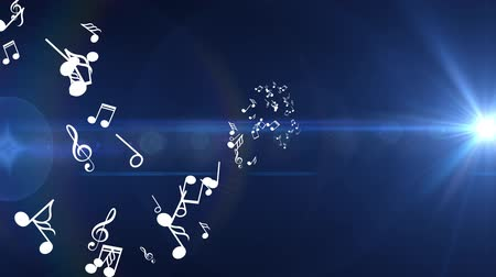 штамм : Many different white musical notes fly . Blue background