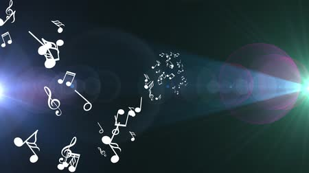 hangjegykulcs : Animated falling 3d music notes. Black bokeh background Stock mozgókép