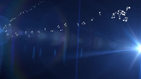 chime : Blue background of musical white light flashes of light Stock Footage