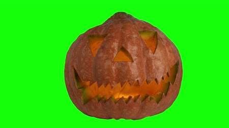 jardim : Halloween pumpkin head jack lantern with candles over on a green screen