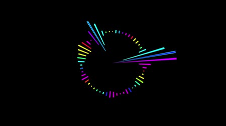 meter : Multicolor equalizer for the level of music control in the form of a circle. Black background