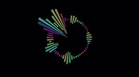 ekolayzer : Multicolor equalizer for the level of music control in the form of a circle. Black background