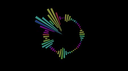 bas : Multicolor equalizer for the level of music control in the form of a circle. Black background