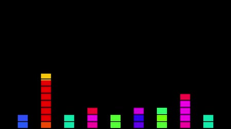 bas : Equalizer in the form of a moving vertical rainbow. Black background