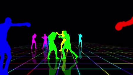 duruş : Boxers and kickboxers trains on a multicolored grid. Black background Stok Video