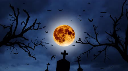 cruzes : Yellow moon silhouette of a tree of crosses and flying bats. Night clouds background