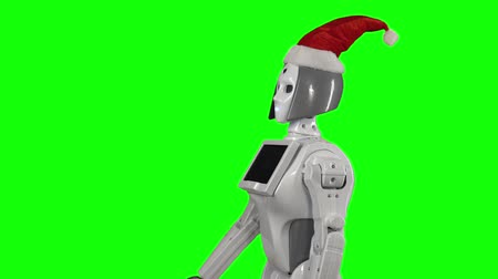 itself : Robot wearing a hat is calling for a hand gesture. Green screen. Side view. Slow motion Stock Footage