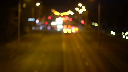 xenon lights : Defocused night traffic lights bokeh background