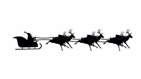 záradék : Silhouette Christmas Santa Claus flying in his sleigh with Christmas gifts pulled by his reindeer. Animation Video, Looping.