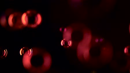vybledlý : Soap bubbles of red color fly close up. Slow motion. Black background Dostupné videozáznamy