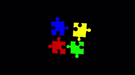 hozzákapcsol : Random falling puzzle transition. Black background
