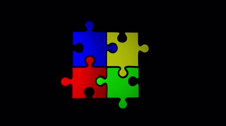 anexar : Many puzzle pieces with color falling down on black background Stock Footage