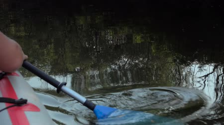 remo : Close up shot of Mans arm in kayak with paddle