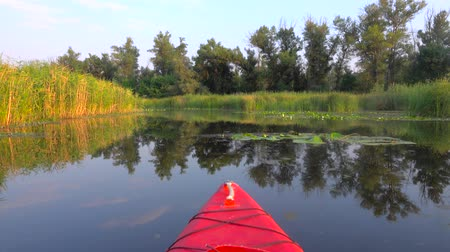 oar : Descent on the river on kayaks , view from nose of ship