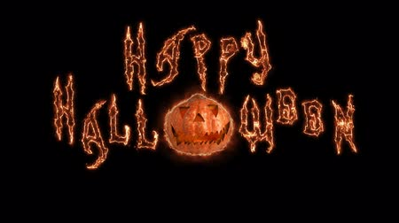 buring : Text Happy Word Halloween animation of magic fire lines . Black background