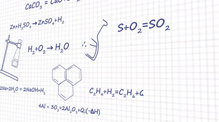 chemical agent : Chemistry formulas on white background graphic animation