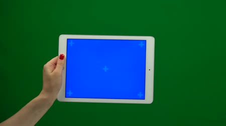 vertically : Laptop with isolated green screen Stock Footage