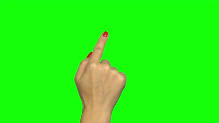 dragging : Female hand touch gestures on green screen Stock Footage