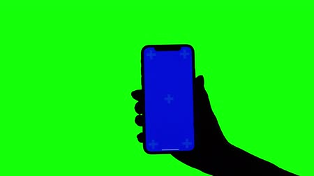 vertically : Female hand holds upright smartphone on green screen