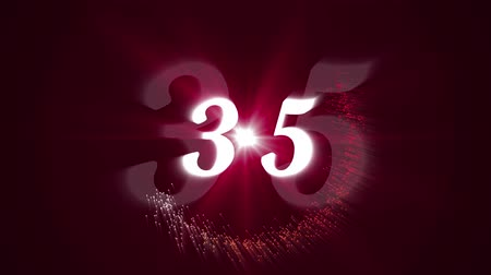 numerais : Countdown features flashing strobe numerals colorful lights and exploding fireworks