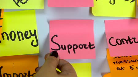 скрепки : Sticker with the word support stick on a white board Стоковые видеозаписи