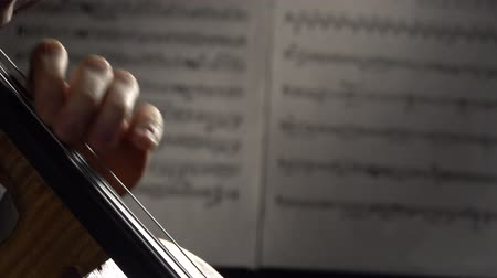 Fingers playing the strings of a cello in the background sheets with notes. Close up. Side view Dostupné videozáznamy