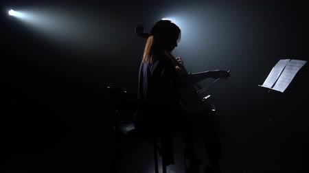 rehearsing : Girl and musical instruments of the cello. Silhouette. Black smoke background