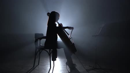 dumanlı : Girl bows the cello in a smoky room at night. Silhouette. Black smoke background