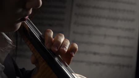 виолончель : Cello closeup with sheets of notes. Close up. Side view. Slow motion