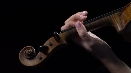 Violinist performs a composition on a violin. Black background. Close up